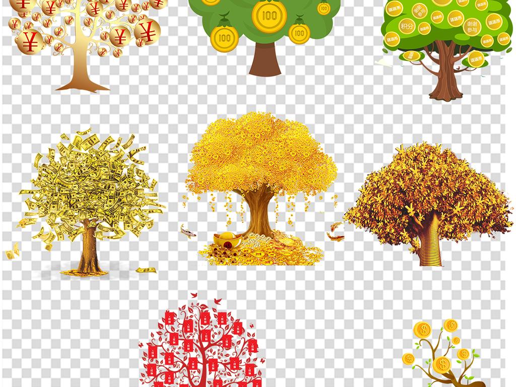 手绘摇钱树美元树木树枝树叶叶子财富