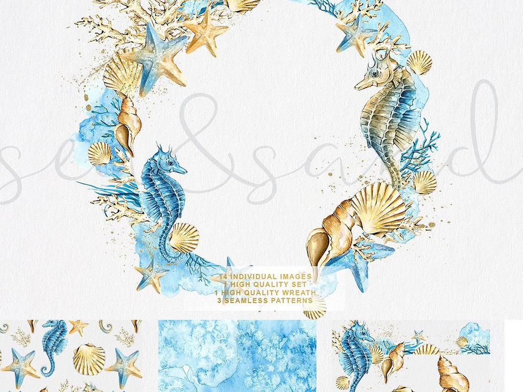水彩手绘海洋馆生物动物海马免抠透明png设计素材