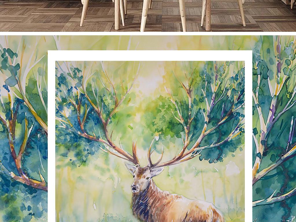 装饰画 北欧装饰画 森林风景装饰画 > 北欧麋鹿油画装饰画  素材图片