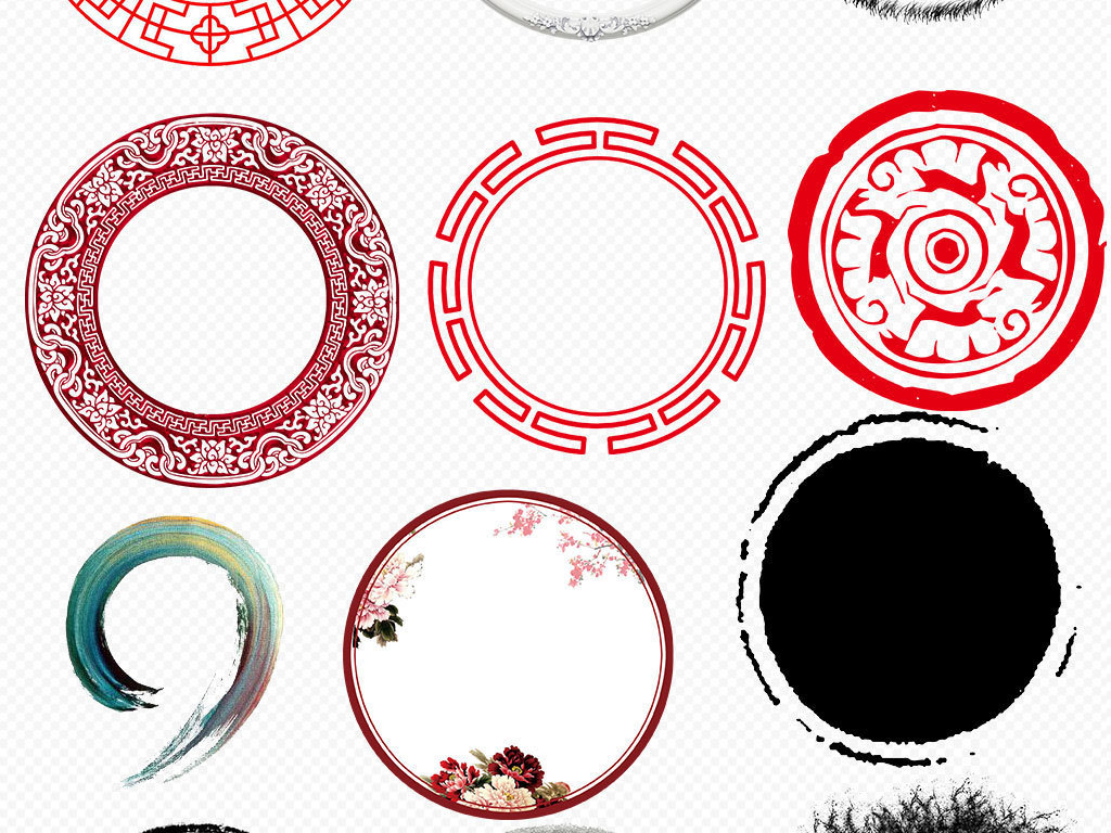 水墨中国风圆环圆形边框圆圈免扣背景素材