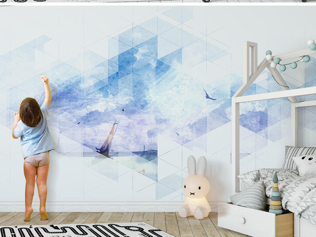 背景墙 电视背景墙 手绘电视背景墙 > 北欧简约几何抽象手绘大海背景