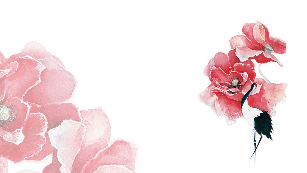 鹤文化手绘插画桌面壁纸