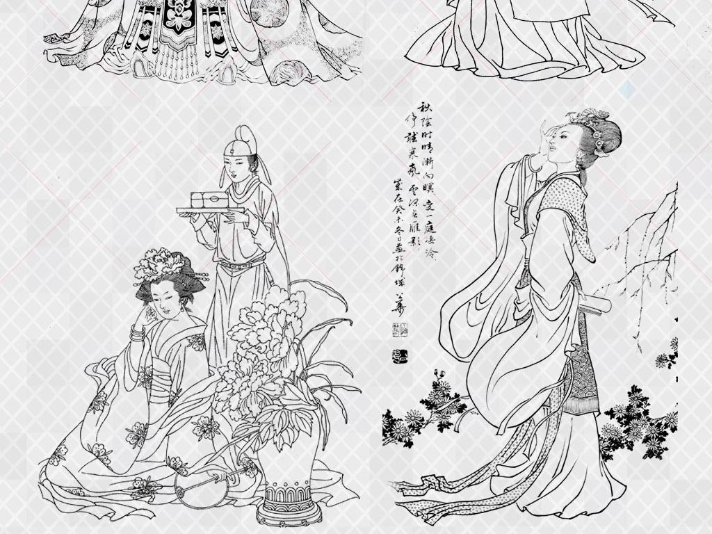 白描四大美人仕女图佛像画小写意人物国画图片下载psd素材 中国风素材图片