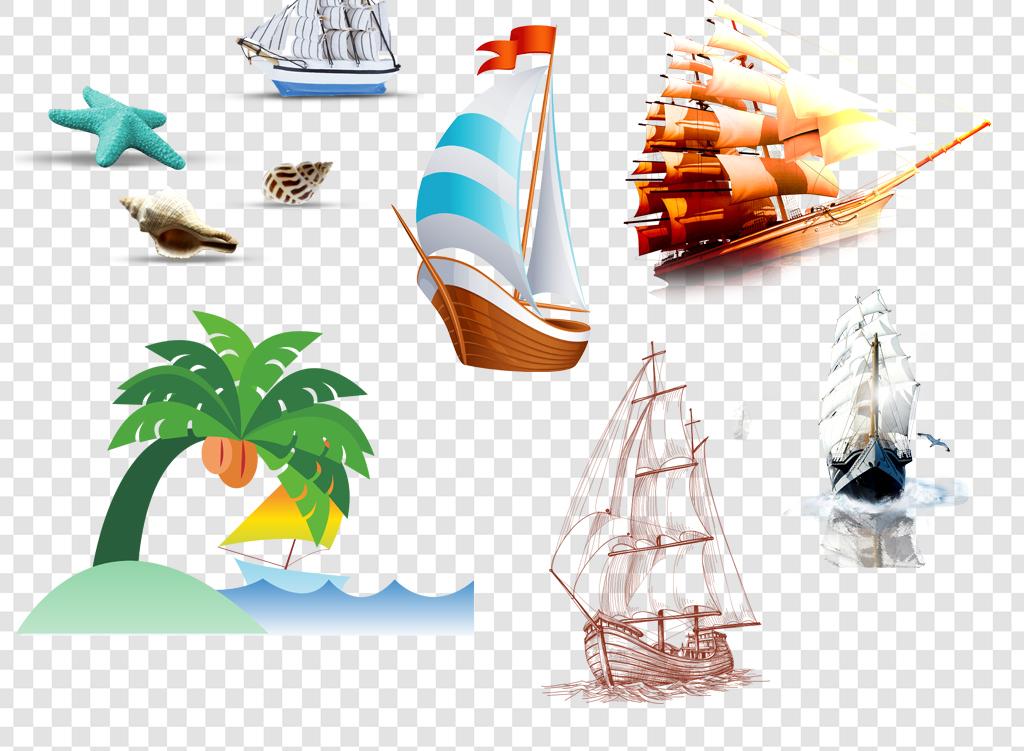 手绘海景复古船舶模型大海淡淡的大气帆破浪金色光线七彩帆船扬帆起航