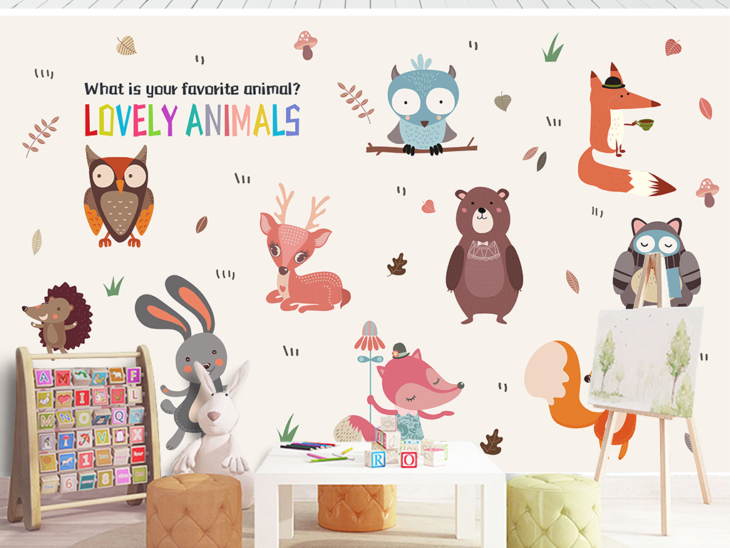设计元素 自然素材 动物 > 北欧简约动物卡通卧室儿童房背景墙墙贴