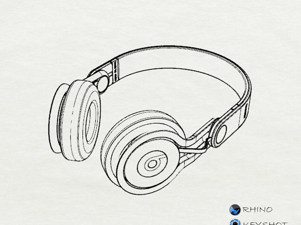 耳机产品手绘线稿