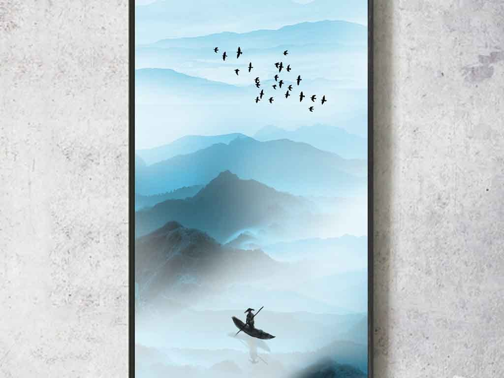 新中式禅意水墨山水客厅沙发玄关壁画图片