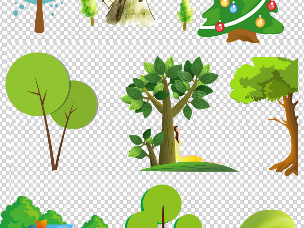 大树素材卡通植物绿色春天树木素材森林公主绿色森林森林风景卡通森林