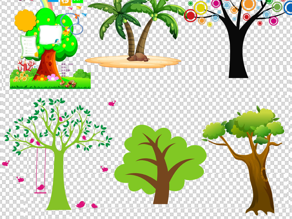 春天绿色树木设计海报素材集合
