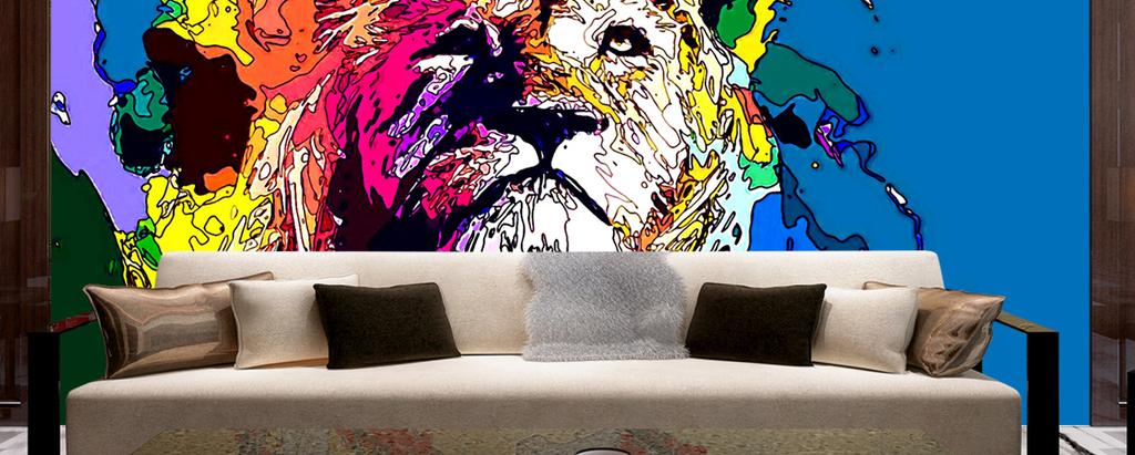 背景墙|装饰画 电视背景墙 手绘电视背景墙 > 时尚彩绘五彩雄狮沙发