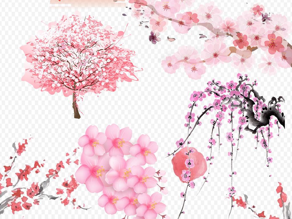 桃花樱花素材小樱花梅花樱花手绘花粉色花花桃花樱花桃花樱花浪漫樱花