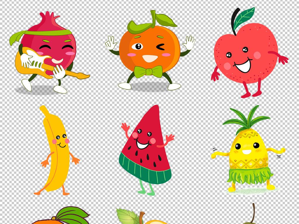 高清卡通手绘水果苹果梨子西瓜香蕉菠萝芒果