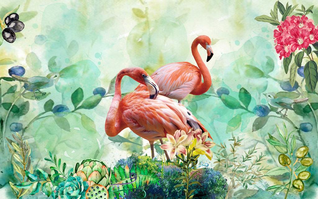 唯美火烈鸟绿色植物花丛时尚背景墙