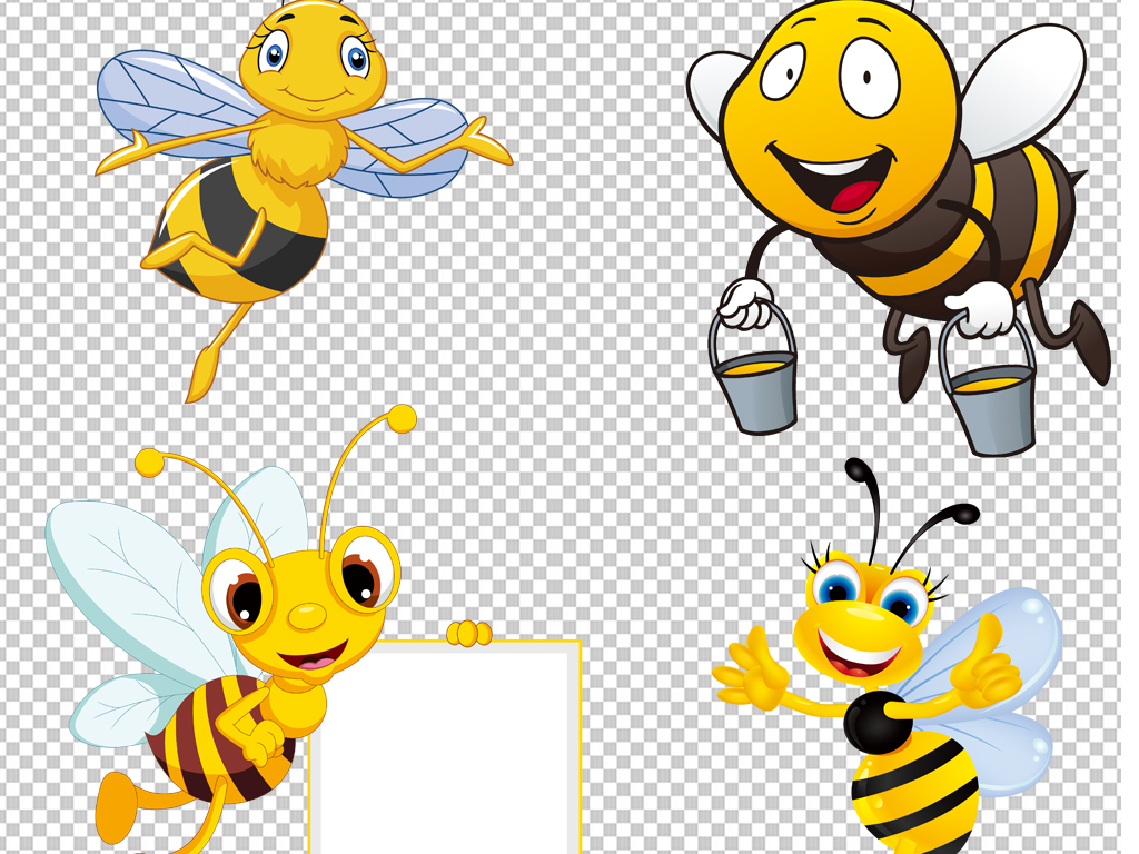 手绘矢量图免抠图海报展板高清高清晰素材免抠素材蜜蜂素材卡通蜜蜂