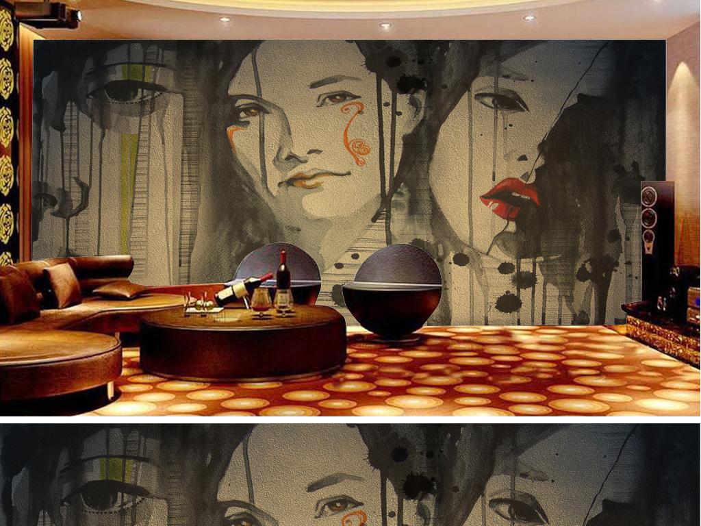 欧美怀旧墙面手绘美女酒吧ktv工装背景墙