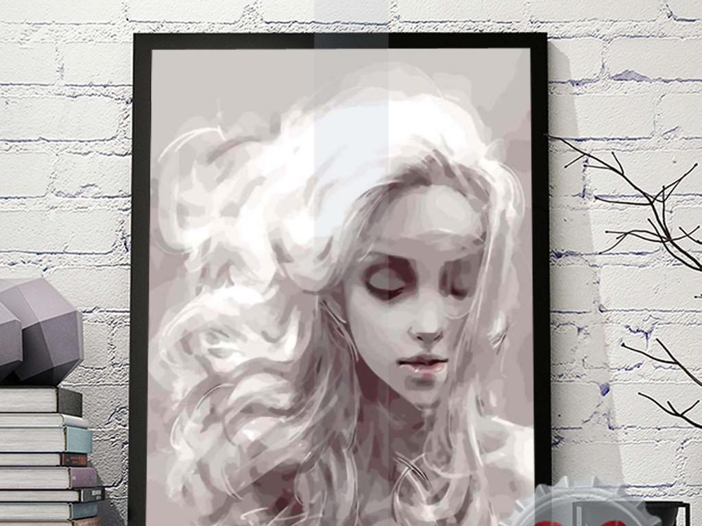 手绘黑白绘画天梦想美女无框画装饰画