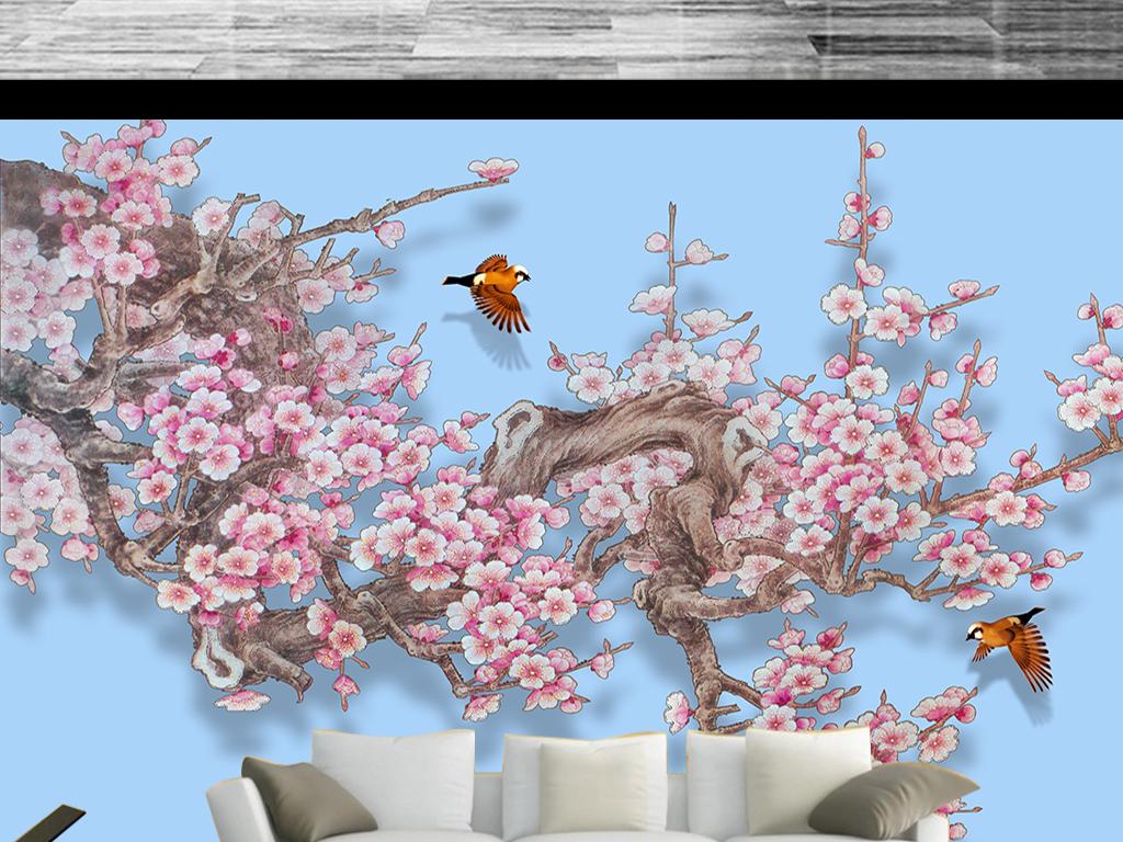 梅花工笔画手绘梅花图新中式花鸟背景墙