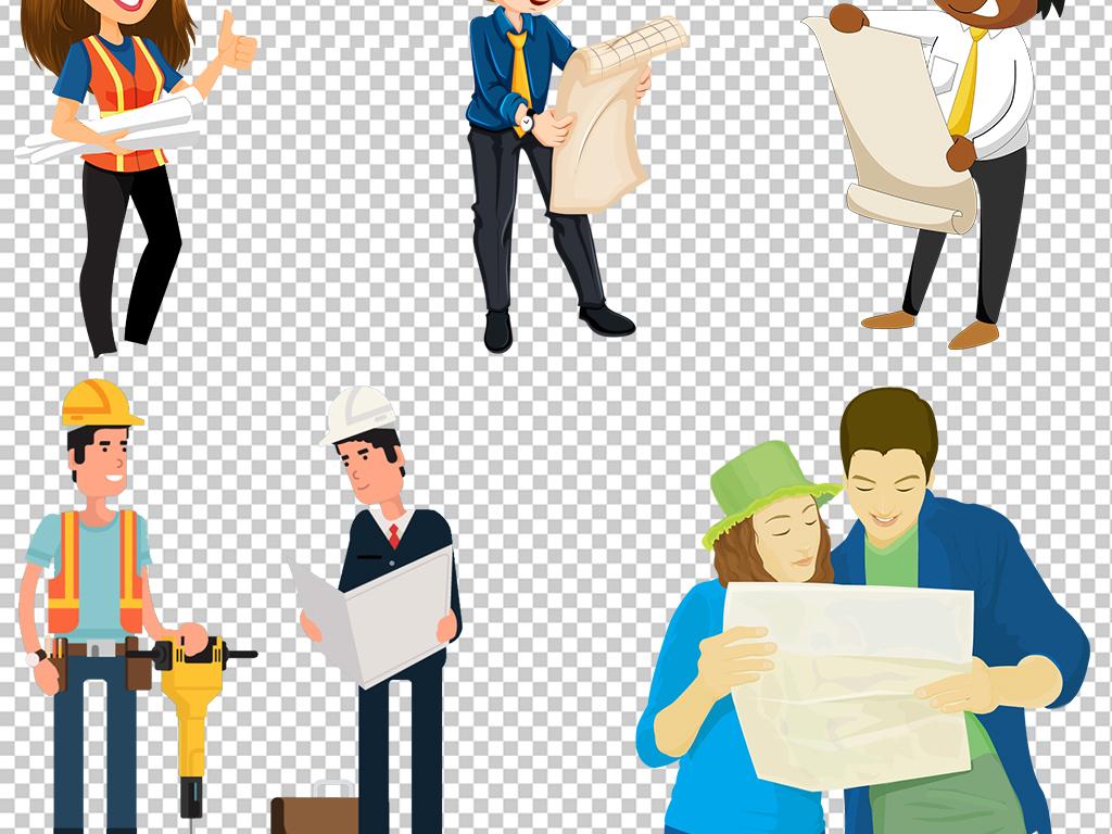 卡通建筑道路工程师工人人物设计素材