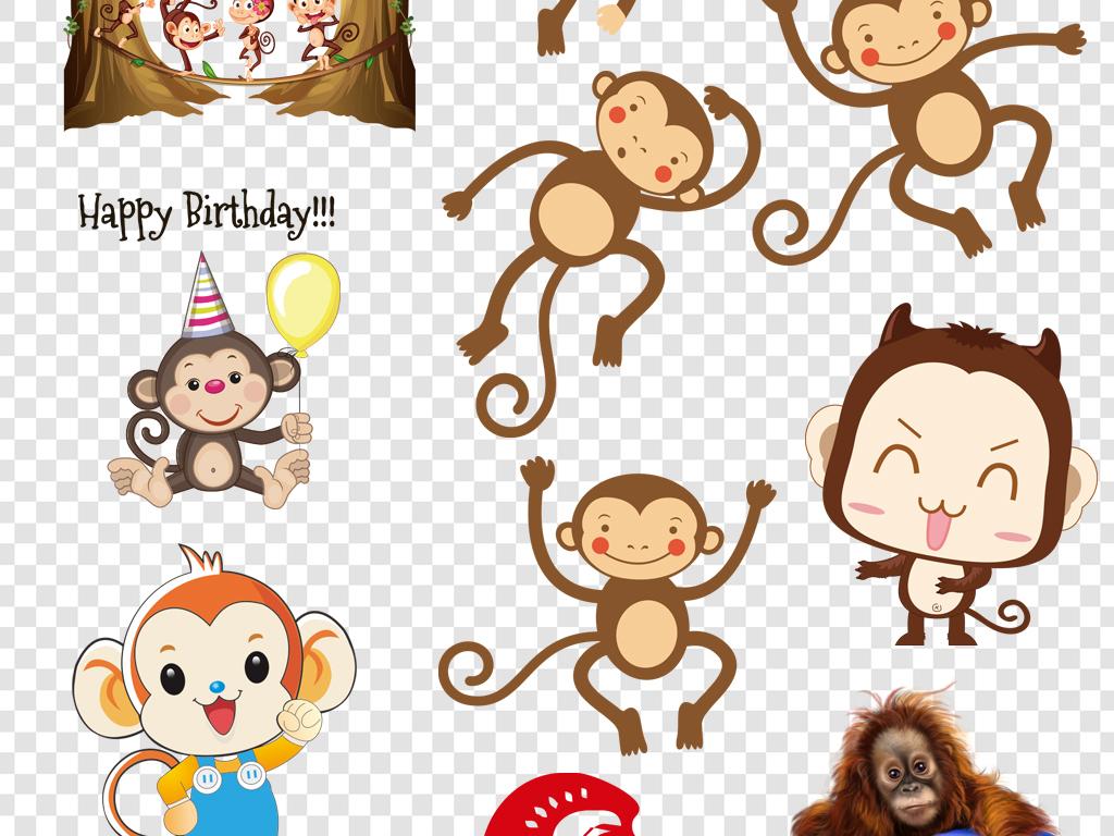 手绘q版可爱心形英文动物可爱猴子猴子素材动物素材猩猩动物卡通可爱