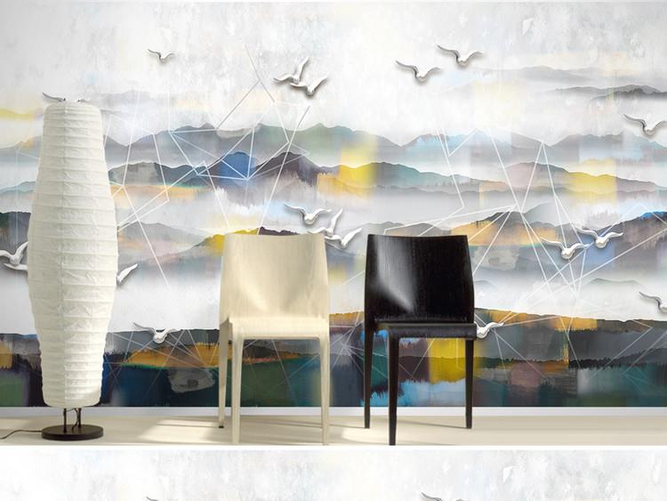 新中式水墨山水几何现代简约电视背景墙