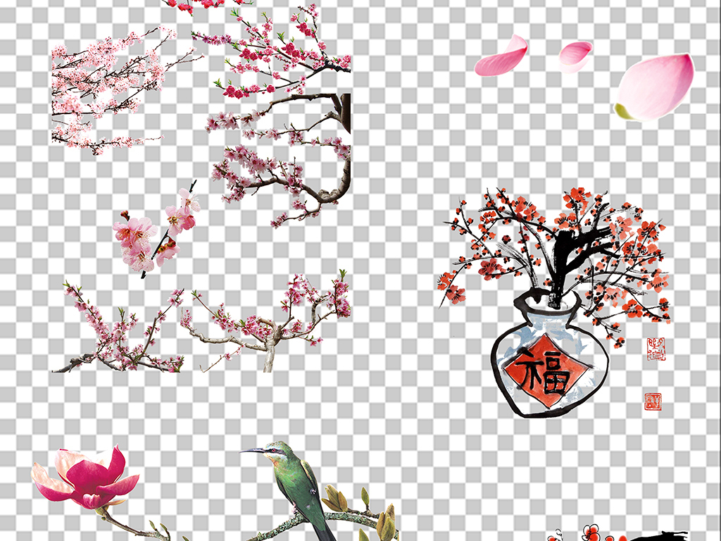 梅花樱花手绘花粉色花花粉色粉色背景桃花樱花素材花瓣唯美樱花花瓣素