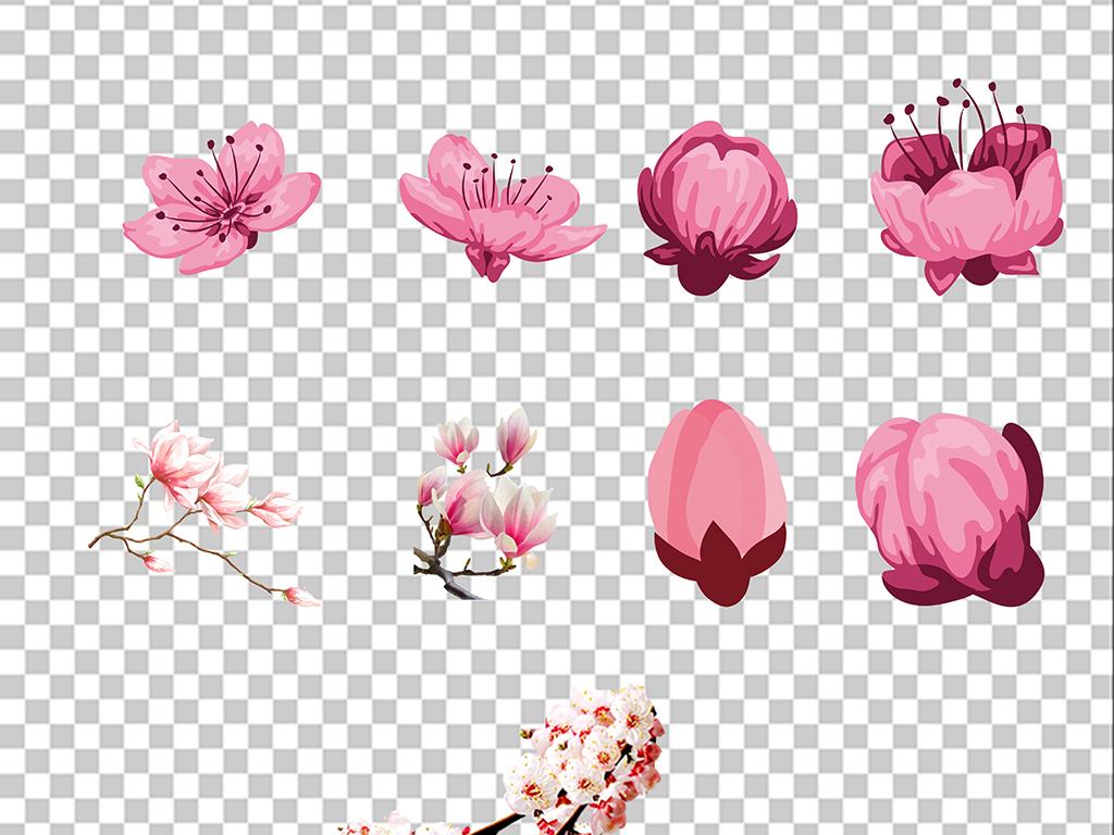 梅花樱花手绘花粉色花花粉色粉色背景桃花樱花素材花瓣唯美樱花花瓣