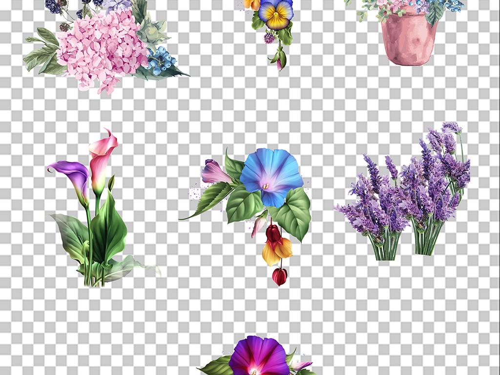 手绘水彩花卉花束叶子png免扣