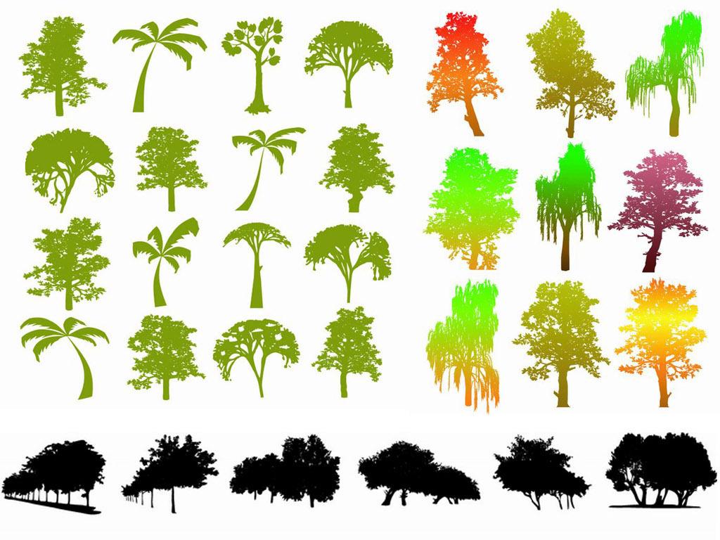 树木大树黑白剪影矢量素材植物剪影ai矢量图平面设计素材