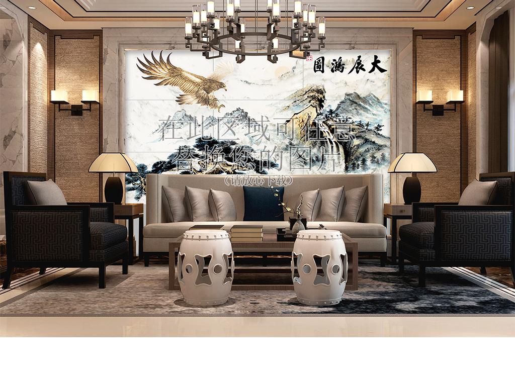 欧式客厅沙发会议厅效果图背景墙场景样机图片