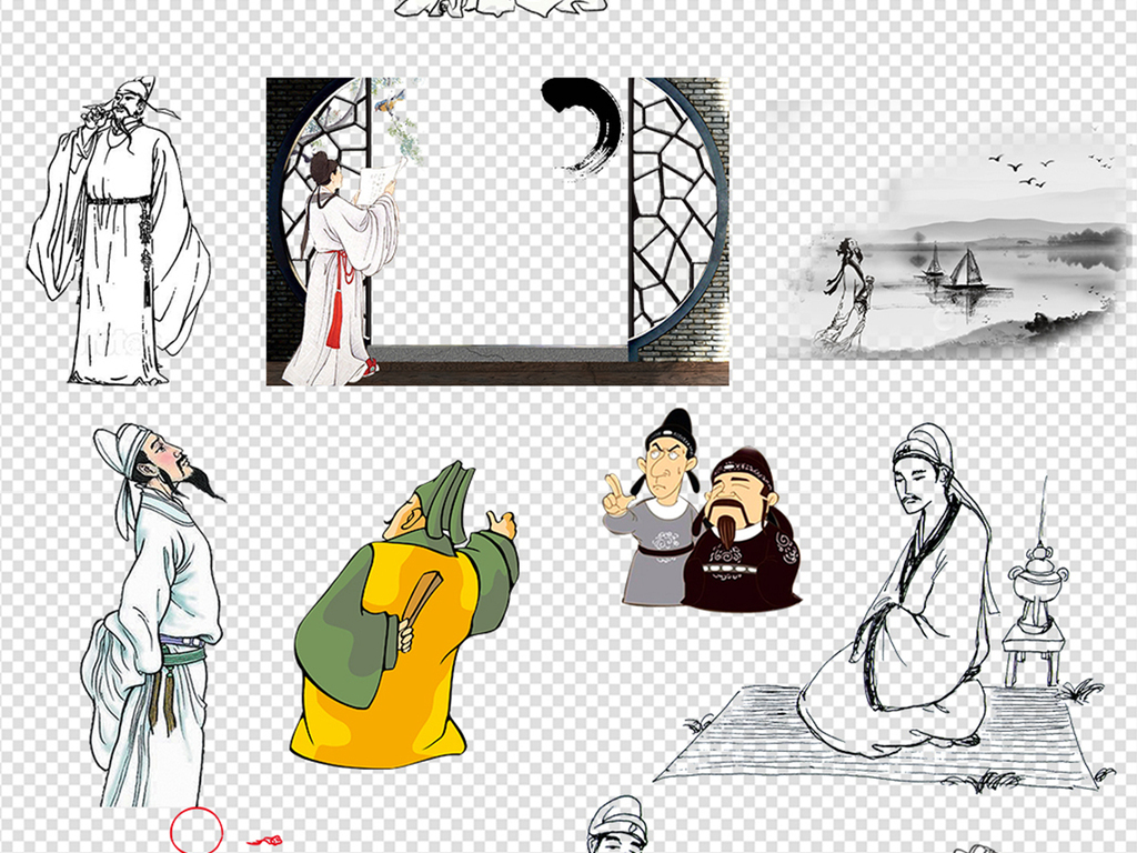 50款卡通手绘古代古人读书诗人背景素材