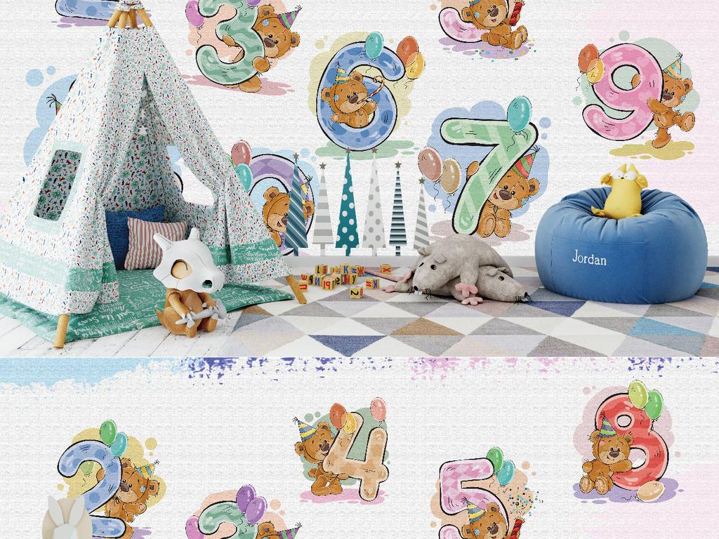 北欧数字小熊学数学儿童房创意背景墙图片设计素材_(.图片