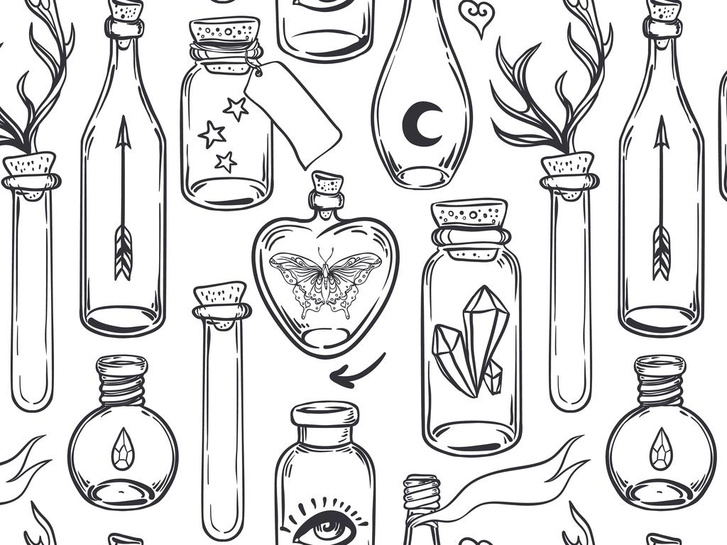 手绘工笔画瓶子杯子图案背景