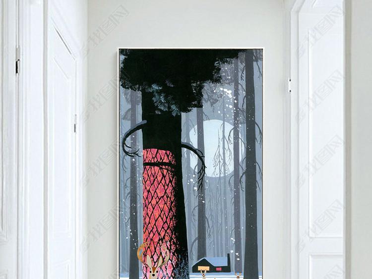 北欧地中海鹿玄关装饰画竖版过道森林麋鹿