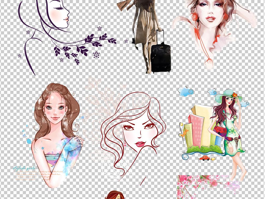 设计元素 人物形象 美女 > 手绘彩绘卡通时尚美女png素材  版权图片