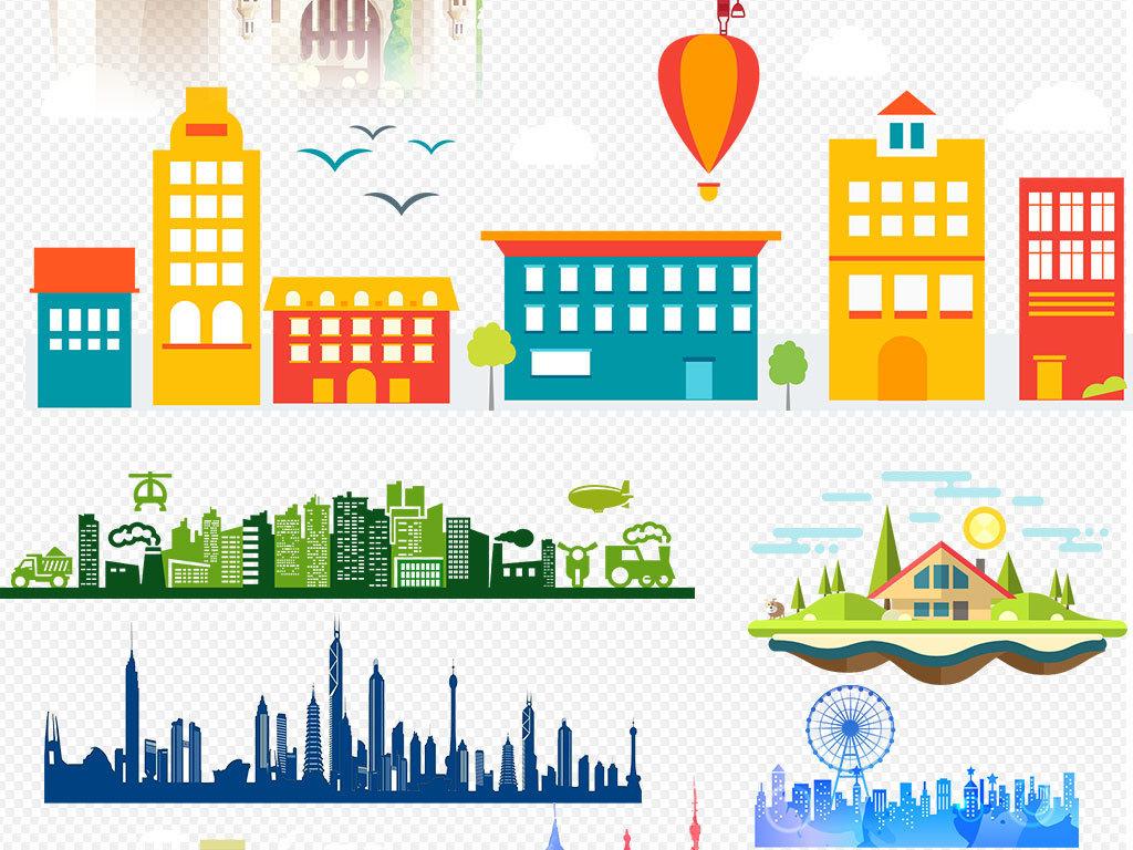 卡通建筑建筑设计手绘建筑欧美建筑大厦大楼上海楼宇写字楼卡通小房子