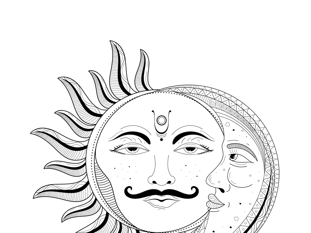 创意手绘线描太阳月亮插画图案
