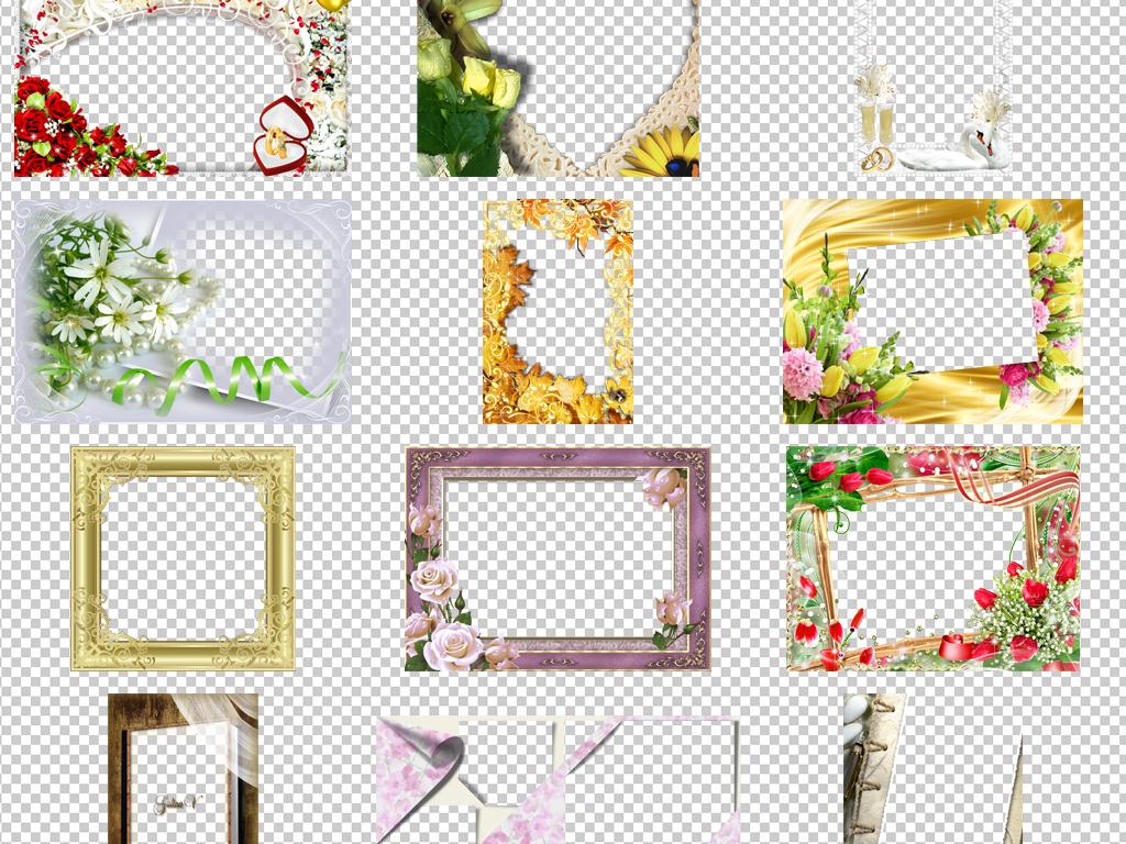 木头相框方形相框花朵相框边框图案边框素材照片相框免抠边框素材免抠