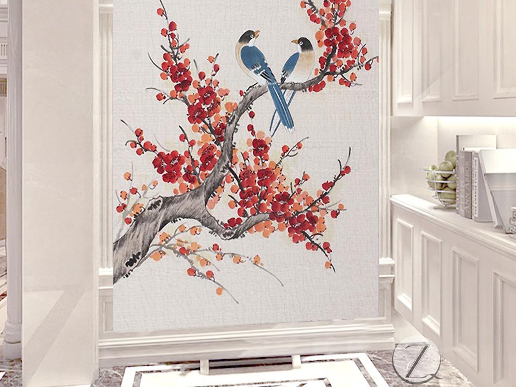 喜鹊报春梅花中式玄关背景墙图片