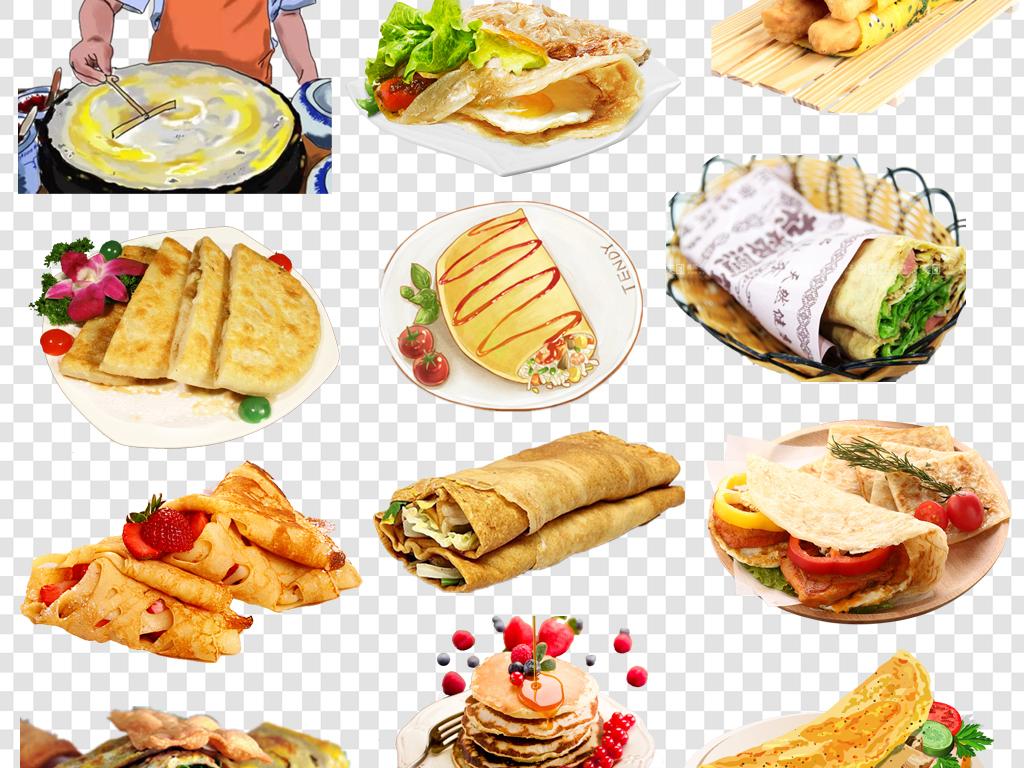 肉夹馍面食餐饮海报素材煎饼卷大葱手绘