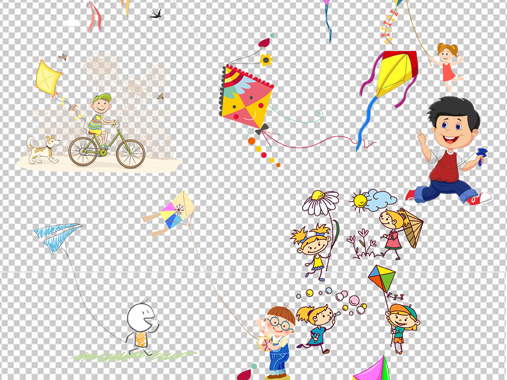 小孩放风筝风筝图案纸风筝矢量图风筝鱼放风筝的人风筝线手绘风筝春天