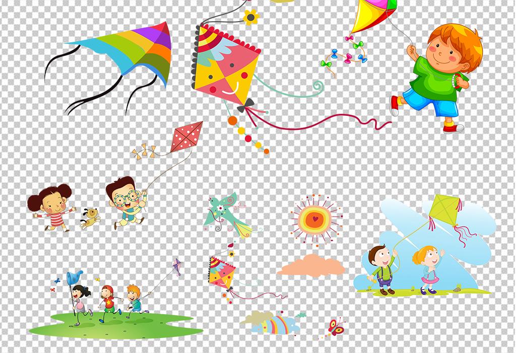 春天漫画放风筝-卡通手绘风筝素材图片下载psd素材 其他图片
