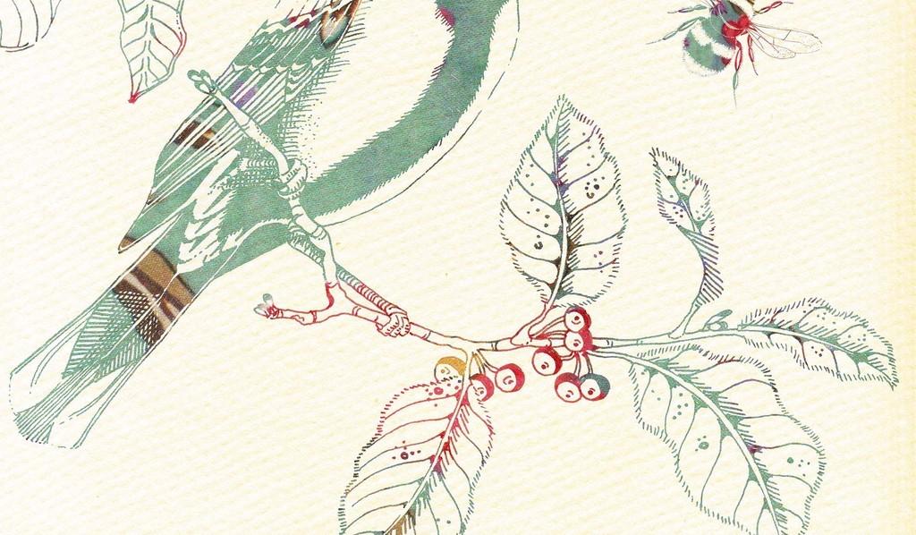 画芯素材源文件图片手绘小清新水墨水彩画植物花卉小鸟动物枝叶藤蔓