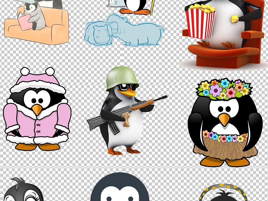 卡通可爱手绘企鹅设计免扣png背景素材