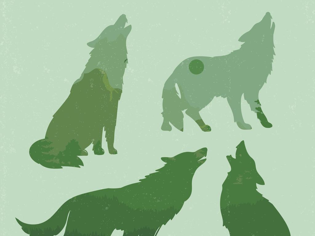 民族图腾狼图腾狼图案狼矢量狼图片手绘狼