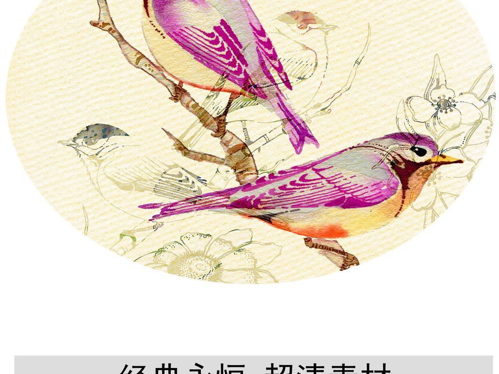 高清画芯素材源文件图片手绘小清新水墨水彩画植物花卉小鸟动物枝叶藤