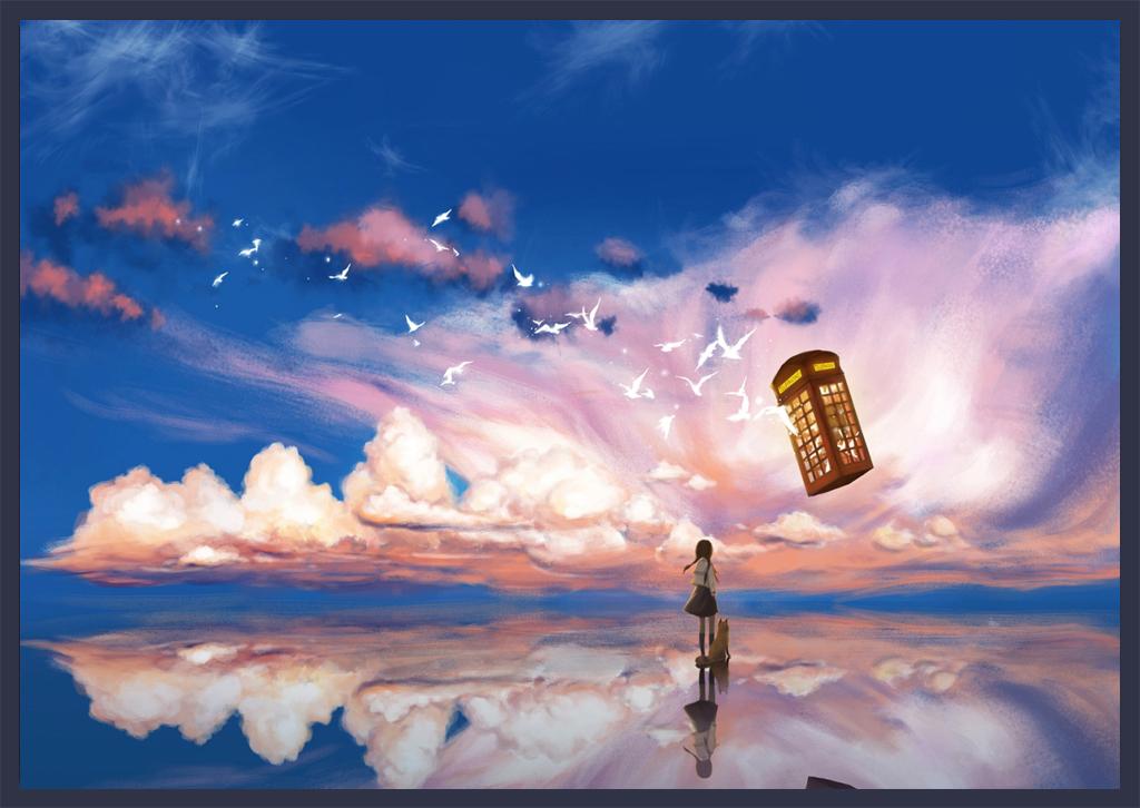 小清新文艺小女孩手绘天空之城北欧风格
