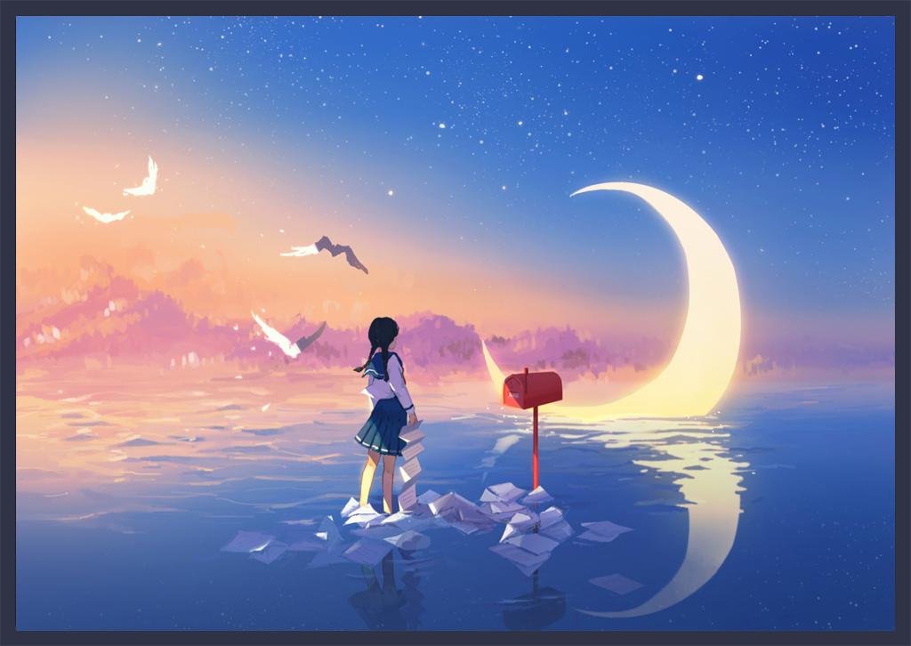 小清新文艺小女孩手绘天空之城北