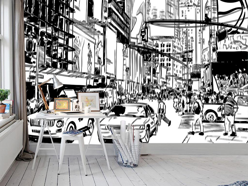 手绘城市街景黑白剪影电视背景墙图片