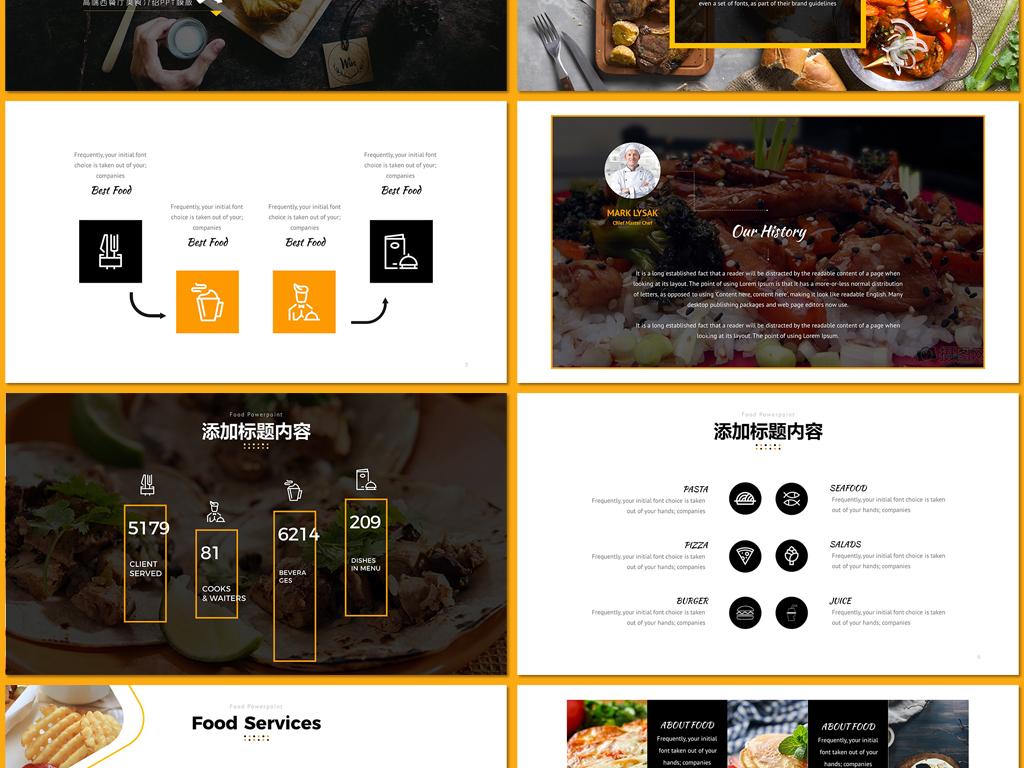 餐饮美食主题酒店餐厅宣传创意ppt模板图片