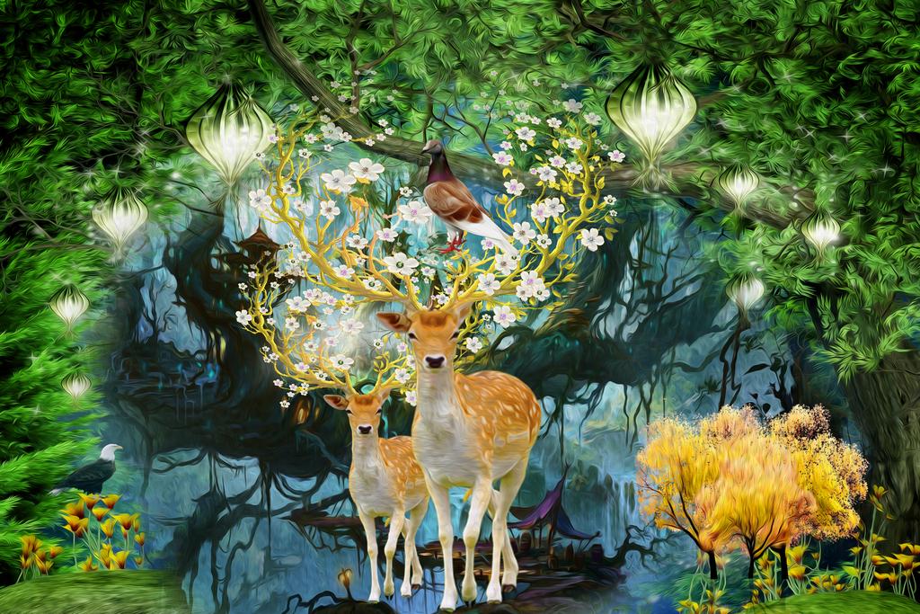 森林公园绿荫路抽象背景墙走栏水墨山水麋鹿